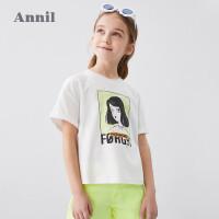 【抢购价:47.9】安奈儿童装女童T恤纯棉2020夏季新款洋气中大童网红装学生短袖T恤