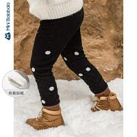 迷你巴拉巴拉儿童裤子女童加绒打底裤2019冬新款厚款保暖修身长裤