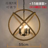 麻绳吊灯美式麻绳吊灯创意个性咖啡厅复古工业风服装店民宿餐厅酒吧台灯具