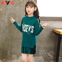儿童毛衣套头中长款女孩针织衫秋冬季中大童打底