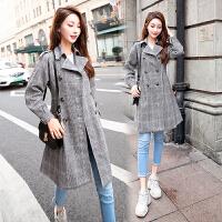 RANJU然聚2018秋冬季女装新品新款中长款流行格子风衣外套薄款毛呢学生大衣