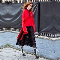 [9月12日3件7折到手价:88元]ochirly欧时力新女装飘带红色宽松长袖T恤式卫衣1JH3027790