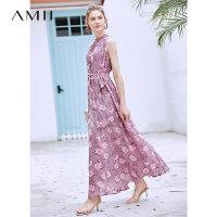 【到手价178.9元】Amii极简法式复古气质连衣裙2019夏季新款宽松无袖印花雪纺长裙