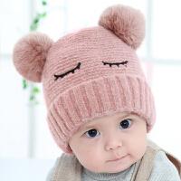 婴儿帽子秋冬0-3-6-12个月男女孩儿童毛球加厚1岁宝宝毛线帽