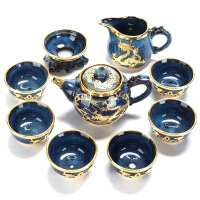 景德镇建盏金镶玉茶具套装家用天目功夫茶具整套礼品陶瓷茶壶茶杯