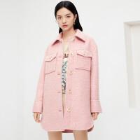 伊芙丽毛呢外套女2020冬季新款韩版单排扣中长款保暖呢大衣