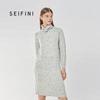 商场同款诗凡黎冬装新款韩版中长款高领连衣裙女318A492671