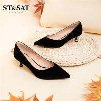 ST&SAT星期六单鞋尖头细跟浅口女鞋SS03111314