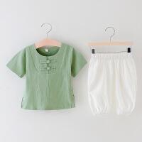 童装套装儿童棉麻短袖唐装夏季汉服男童中国风两件套