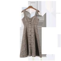 欧美女装裙子女秋冬学生套装法国小众连衣裙两件套过膝山本法式复古背带裙