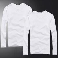 秋季男士长袖T恤男款纯色圆领韩版棉修身白色打底衫体恤秋衣男