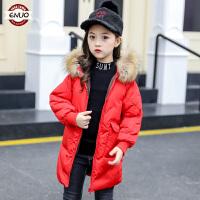 儿童棉衣2018冬季新款韩版中长款女孩棉袄连帽加厚
