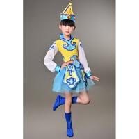 少儿演出服儿童表演服民族蒙族女童筷子舞蹈服幼儿蒙古舞服装纱裙 天蓝色,女款 110cm