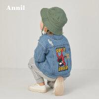【直降价:185】安奈儿童装男小童牛仔外套2020春季新款时尚百搭上衣