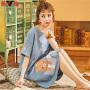 【2件3折,限时抢购】雅鹿睡衣女夏薄款棉质柔软睡裙短袖一套式家居服