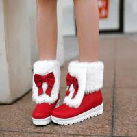 彼艾2016冬季新款甜美保暖毛毛靴磨砂女靴蝴蝶结坡跟短靴内增高平底靴子女靴子