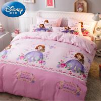 儿童床单四件套全棉公主风床上用品纯棉女孩苏菲亚被套女童三件套
