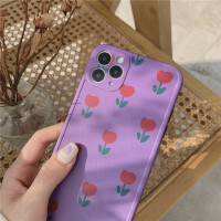 韩风ins紫色小花朵11Pro Max苹果X/XS/XR/SE手机壳iPhone7p女8plus潮个性创意日韩国保护套全