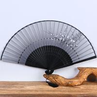女式折扇夏季日式樱花扇子古风绢扇丝绸布扇牡丹扇