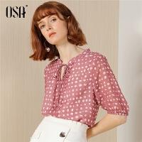 【过年3折价:118.3】OSA欧莎V领圆点雪纺衬衫女短袖2019夏季新款OL衬衣设计感小衫上衣