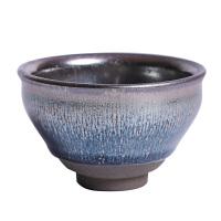 建窑建盏杯铁胎银丝主人杯柴烧品茗大杯家用陶瓷普洱茶杯单个复古