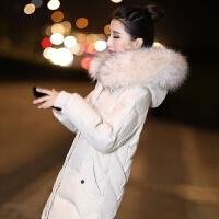 2019冬季羽绒服女中长款韩版修身显瘦过膝真毛领外套厂家怡馨 S 90斤-110斤