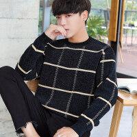 新款圆领毛衣男韩版外套宽松潮流个性帅气男士加厚秋冬季毛线衣