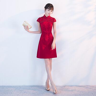 红色敬酒服旗袍2018新款夏季新娘中式结婚晚礼服女中国风修身短款 发货周期:一般在付款后2-90天左右发货,具体发货时间请以与客服协商的时间为准