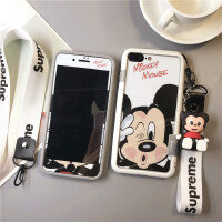 新款史迪仔苹果7plus钢化膜8手机壳iphone彩膜6s卡通X硅胶边框 7Plus/8Plus米奇
