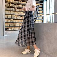 2019夏季高腰大摆格子雪纺显瘦半身裙女春长裙适合胯大腿粗的裙子