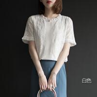 蕾丝打底衫短袖女衬衫洋气小衫2019新款夏季木耳边上衣镂空雪纺衫