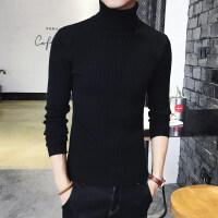 男士修身韩版高领毛衣两翻领纯色打底衫紧身针织衫秋冬季潮男装