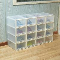 防尘加厚塑料透明抽屉式鞋盒子男女鞋靴子高跟鞋柜简易组合收纳盒