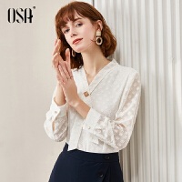 【2件2折叠券预估价:128】OSA洋气白色雪纺衫女长袖2021年新款春季时尚女士小衫碎花V领上衣