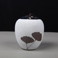 粗陶茶叶罐枫叶布塞茶叶罐密封罐防潮普洱茶仓茶盒醒茶罐定制
