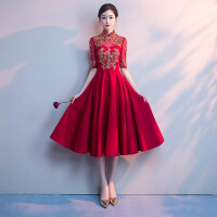 敬酒服新娘结婚晚礼服裙女2018新款名媛聚宴会高贵优雅洋装连衣裙
