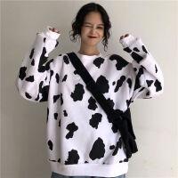 ins上衣秋冬奶牛可爱韩版原宿风宽松bf加厚加绒套头卫衣女学生 黑白奶牛 【款】