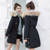 大毛领棉袄2019冬季韩版时尚收腰中长款女士修身棉衣 M (75-90斤)