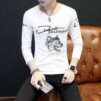 春秋季男士长袖T恤V领潮流男装修身韩版帅气打底衫秋衣上衣服外穿