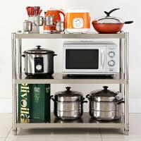 厨房置物架 落地不锈钢微波炉架子货架多层厨具收纳架用品锅架烤箱架三层