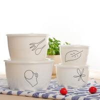 陶瓷密封保鲜碗四件套装带盖保鲜盒家用厨房微波炉便当碗冰箱适用