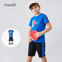 【3件3折】安奈儿男童夏天套装短袖2020新款兵乓球系列男孩纯棉国潮运动套装1