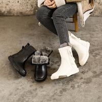 ��菲���D2020秋冬新款女靴皮毛一�w雪地靴女真皮厚底�R丁靴英��加�q加厚短靴1816-24YML
