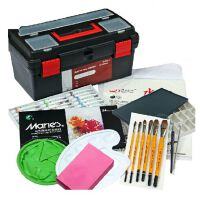 马利24色水粉颜料10件工具套装+工具箱+调色盘+画笔 14寸工具箱+羊毫画笔 6支