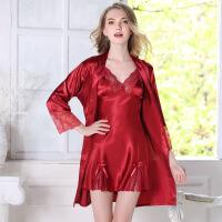 内衣睡裙女士性感睡衣两件套装冰丝绸蕾丝春秋长袖真丝睡衣女夏季吊带睡裙