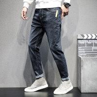 2019秋季新款黑灰色牛仔裤男常规款青年韩版潮牌弹力修身直筒长裤