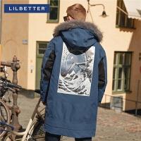 2.5折价:492;Lilbetter男士羽绒服中长款保暖加厚外套印花连帽休闲羽绒衣