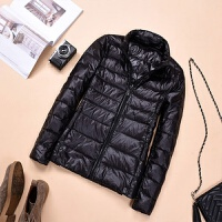 轻薄羽绒服女短款立领连帽时尚韩版修身大码女装学生外套加厚保暖 4XL 建议140-150斤