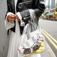 透明果冻包包女大容量PVC购物袋手提包韩国新款ins字母沙滩包 透明白