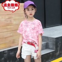 女童夏装2019新款儿童纯棉短袖套装中大童牛仔短裤夏季时髦童装